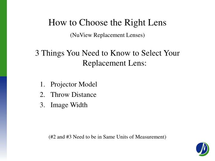 How to Choose the Right Lens