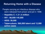 returning home with a disease