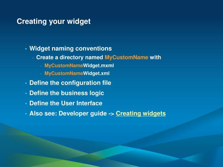 Creating your widget