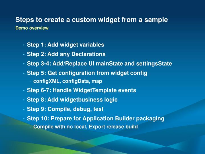 Steps to create a custom widget from a sample