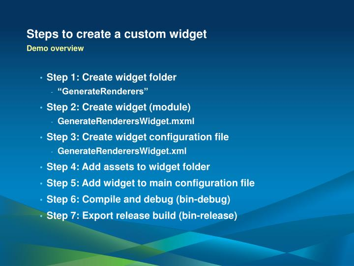 Steps to create a custom widget