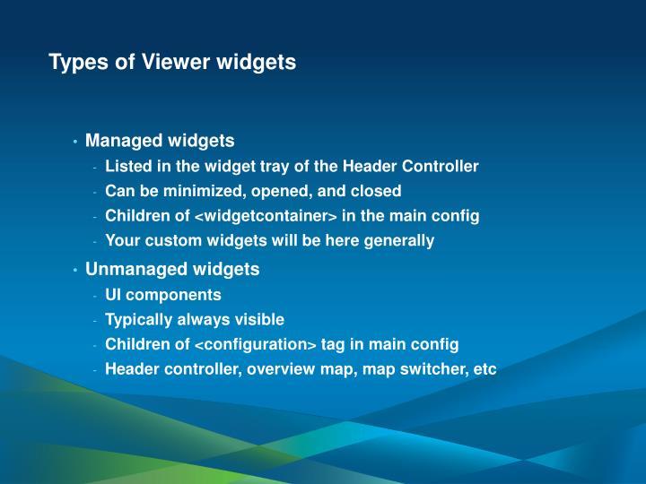 Types of Viewer widgets