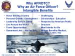 why afrotc why an air force officer intangible benefits