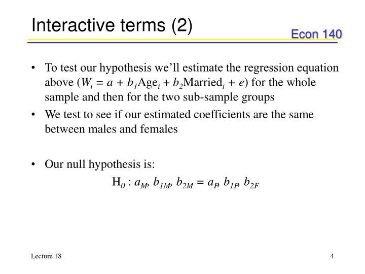 Interactive terms (2)