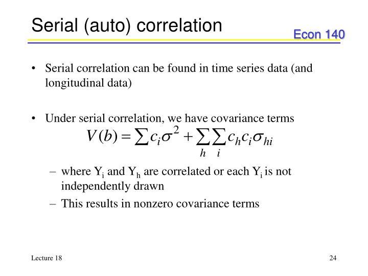 Serial (auto) correlation