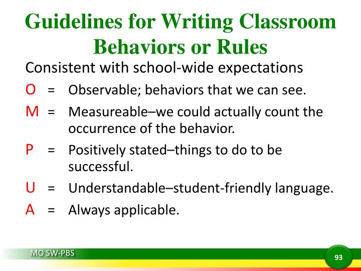 Guidelines for Writing Classroom