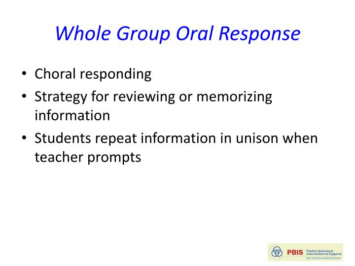 Whole Group Oral Response