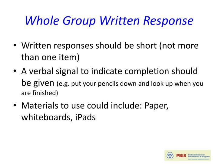 Whole Group Written Response