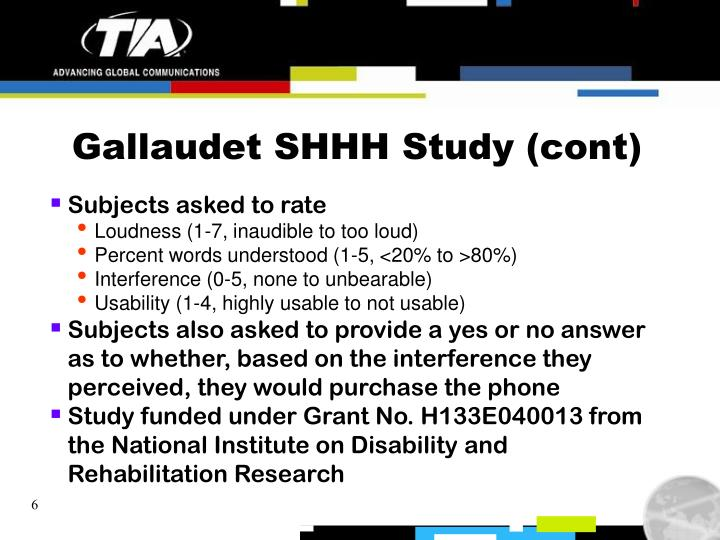 Gallaudet SHHH Study (cont)