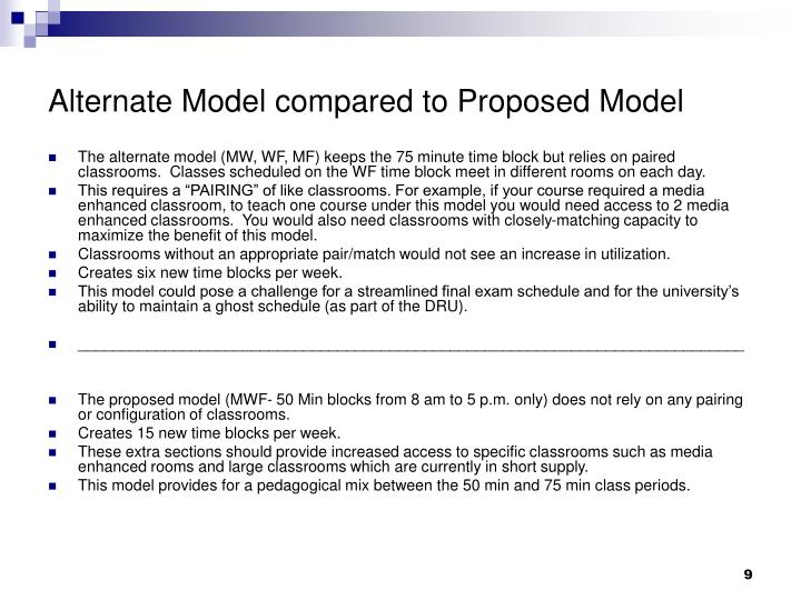 Alternate Model compared to Proposed Model