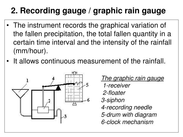 2. Recording gauge / graphic rain gauge