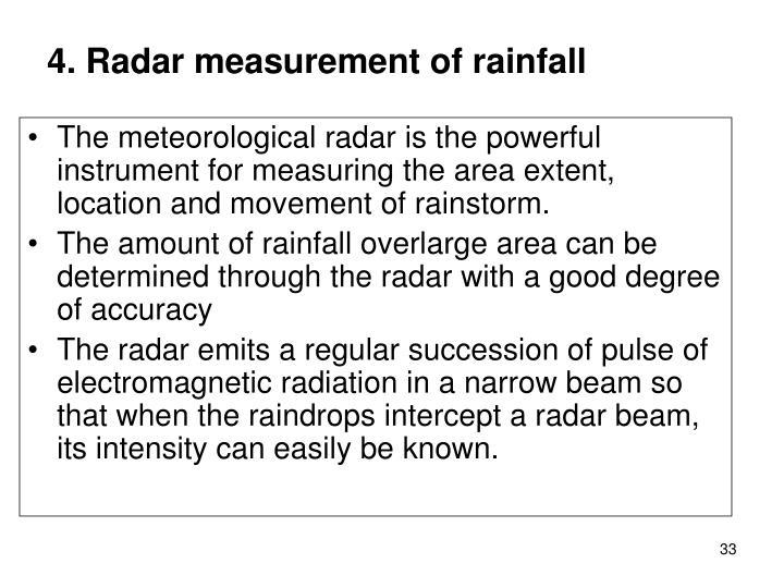 4. Radar measurement of rainfall