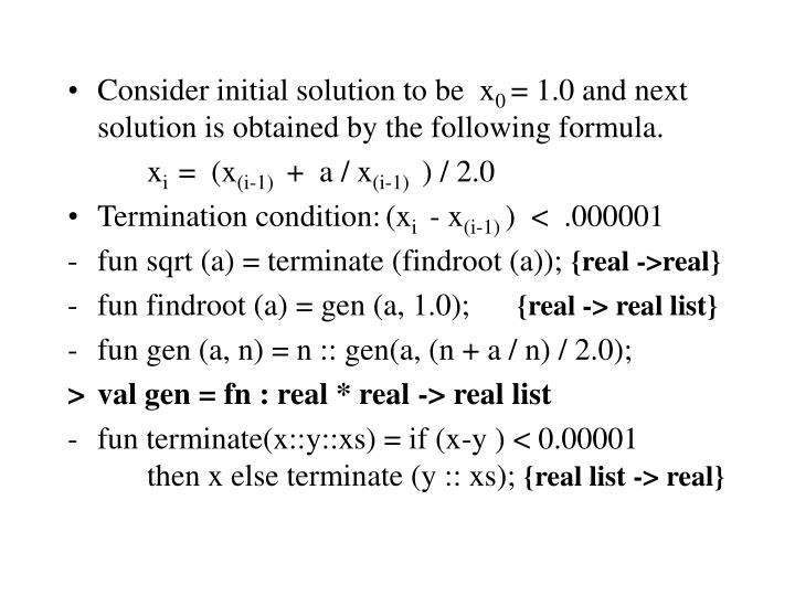 Consider initial solution to be  x