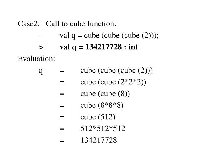 Case2:   Call to cube function.