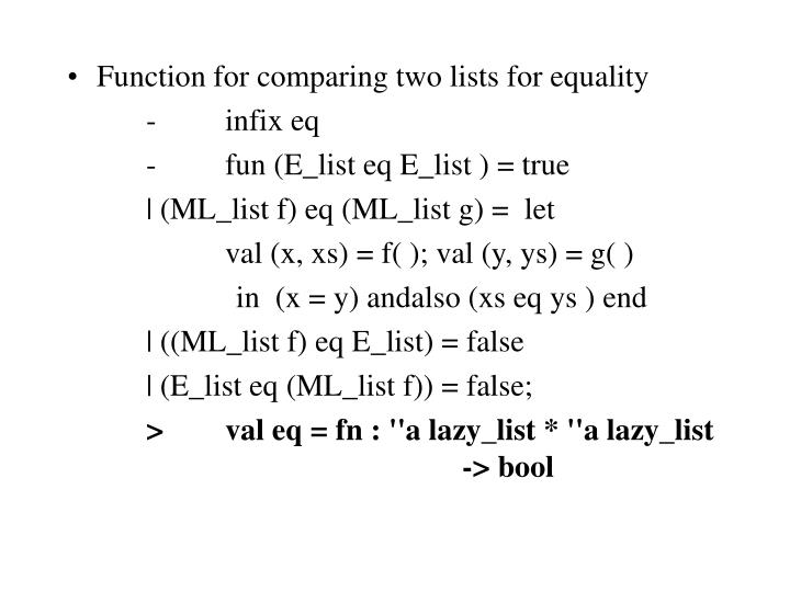Function for comparing two lists for equality