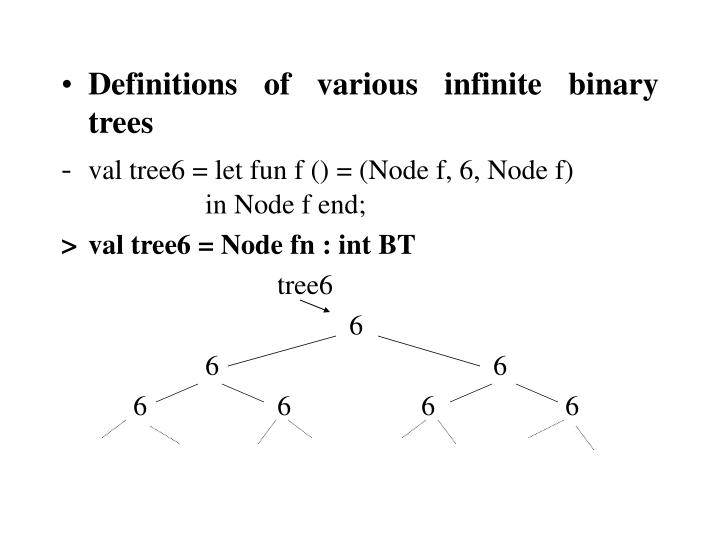 Definitions of various infinite binary trees