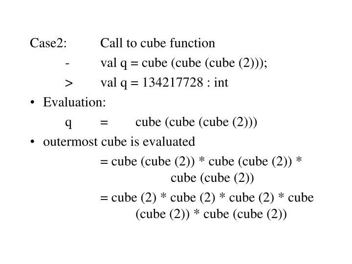 Case2:Call to cube function