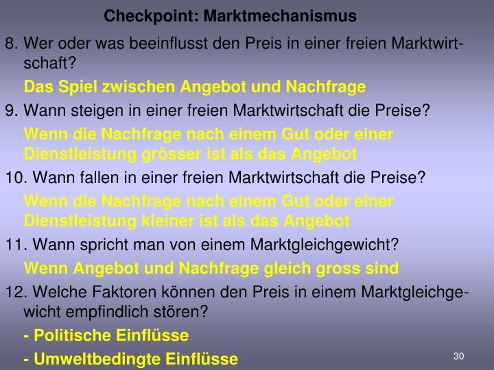 Checkpoint: Marktmechanismus