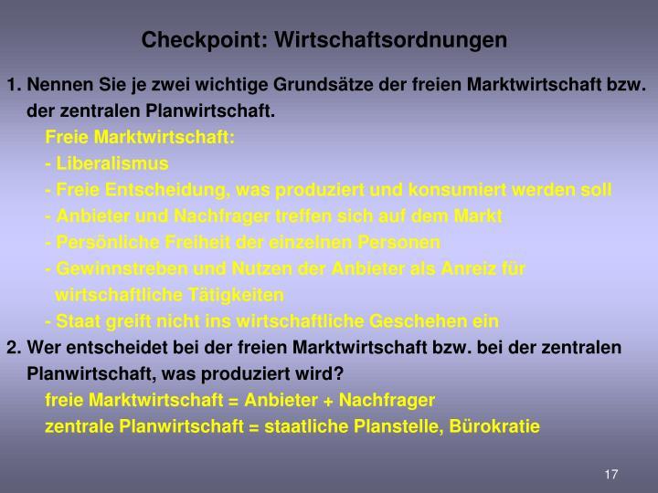 Checkpoint: Wirtschaftsordnungen
