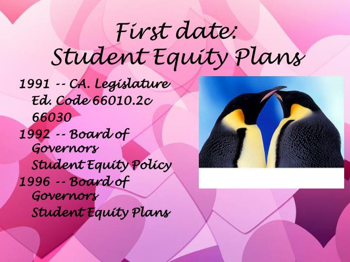 First date student equity plans