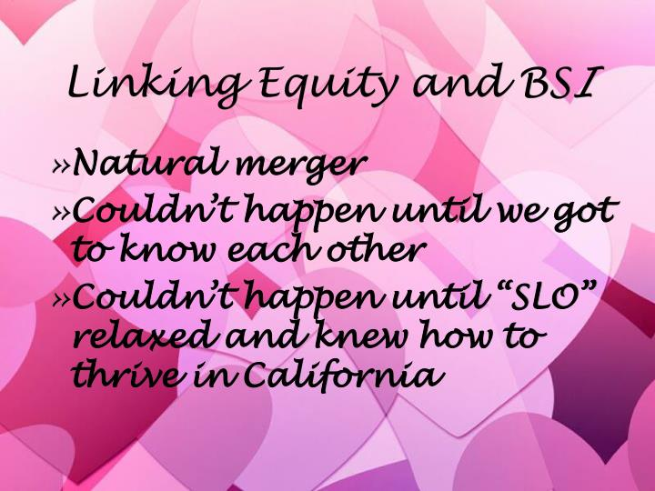Linking Equity and BS