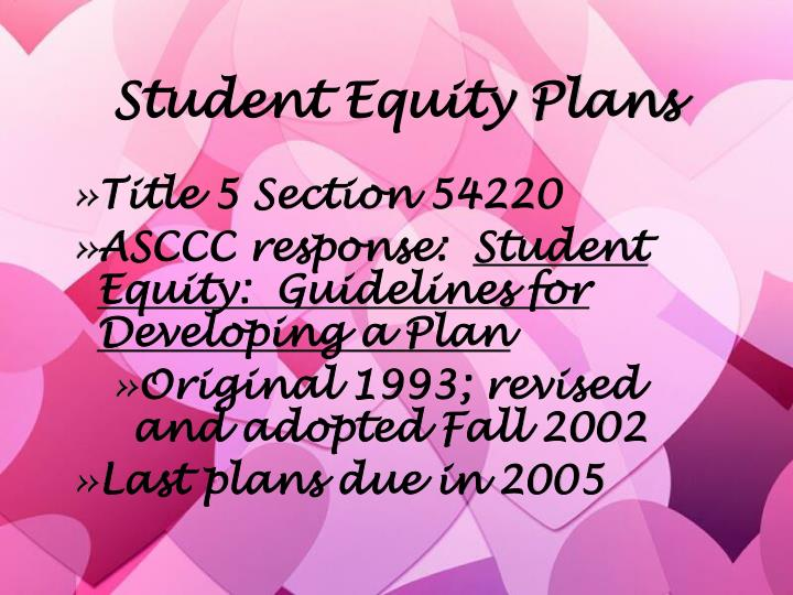 Student equity plans