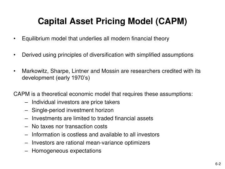 essay on capital asset pricing model In asset pricing and other fields of finance for asset pricing, the concepts of risk and return, and state prices will be introduced as a stepping stone towards the discussions of more advanced topics including the capital asset pricing model (capm), the arbitrage pricing theory (apt), and other more recent asset pricing models.