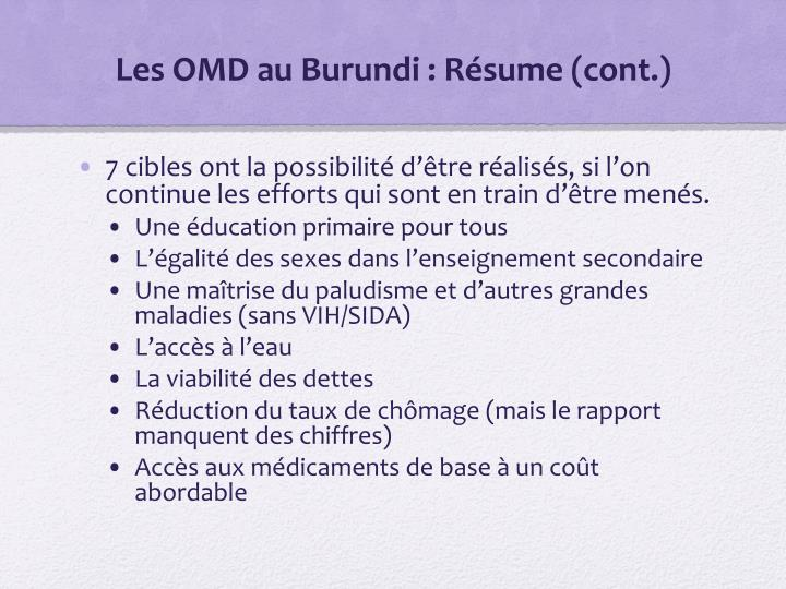 Les OMD au Burundi : Résume (