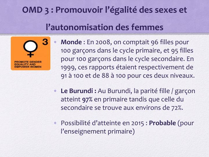 OMD 3: Promouvoir l'égalité des sexes et l'autonomisation des femmes