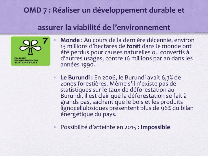 OMD 7: Réaliser un développement durable et assurer la viabilité de l'environnement