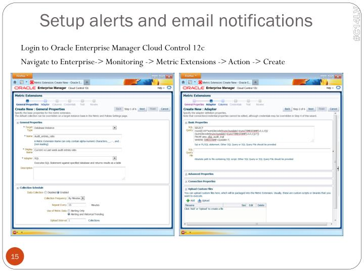 Setup alerts and email notifications