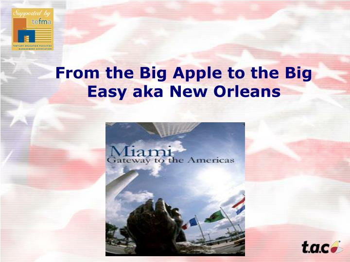 From the Big Apple to the Big Easy aka New Orleans