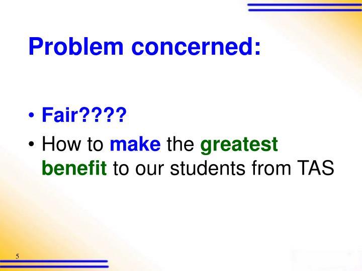 Problem concerned:
