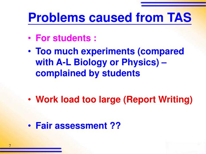 Problems caused from TAS