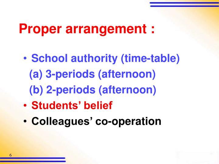 Proper arrangement :