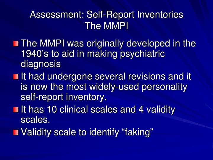 Assessment: Self-Report Inventories