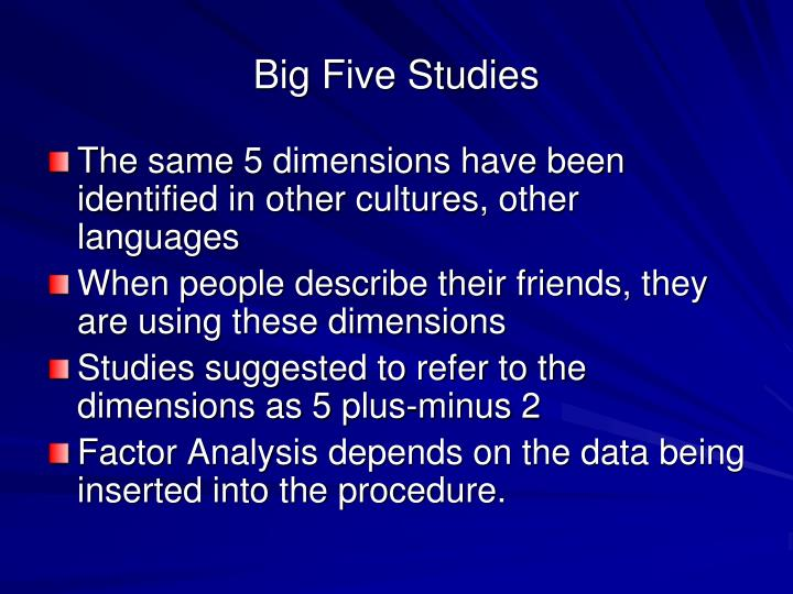 Big Five Studies