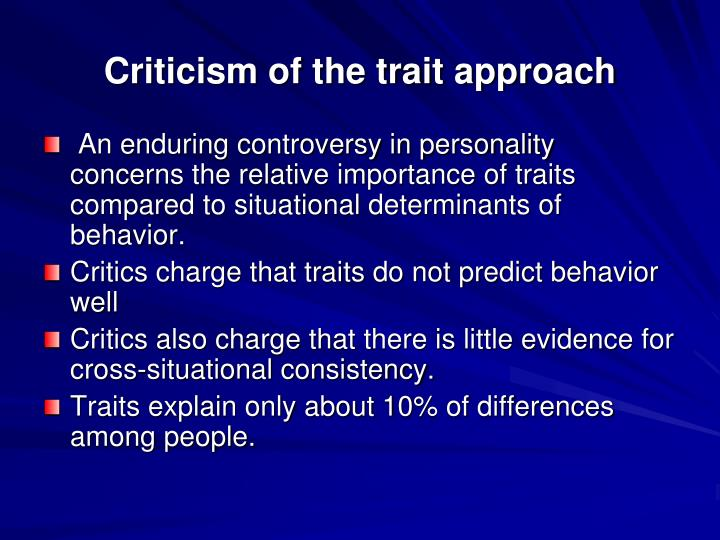 Criticism of the trait approach