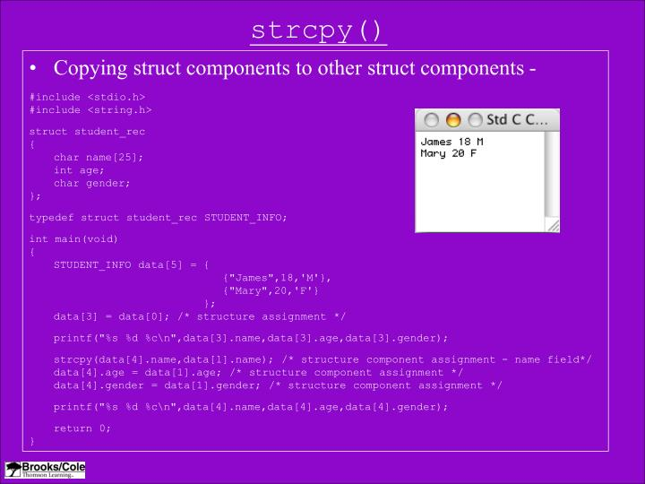 strcpy()