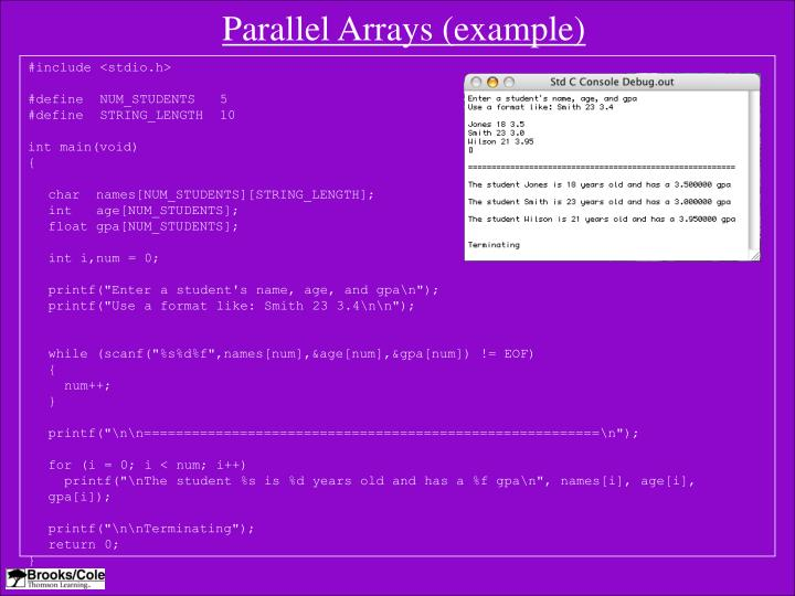 Parallel Arrays (example)