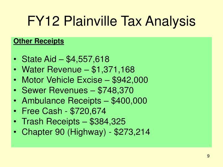 FY12 Plainville Tax Analysis