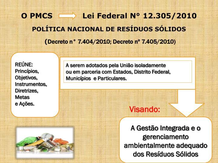 O PMCS            Lei Federal N° 12.305/2010