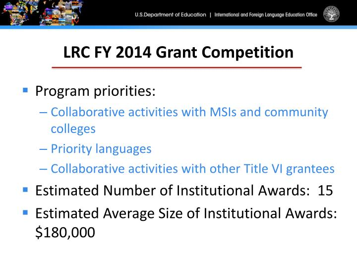 LRC FY 2014 Grant Competition