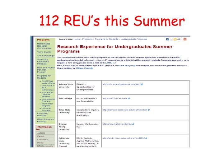 112 REU's this Summer