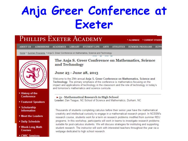 Anja Greer Conference at Exeter