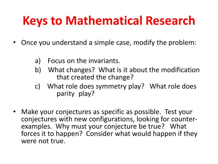 Keys to Mathematical Research