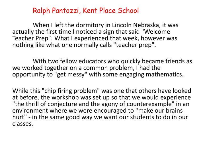 Ralph Pantozzi, Kent Place School