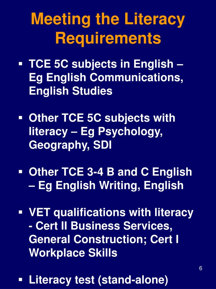 Meeting the Literacy Requirements