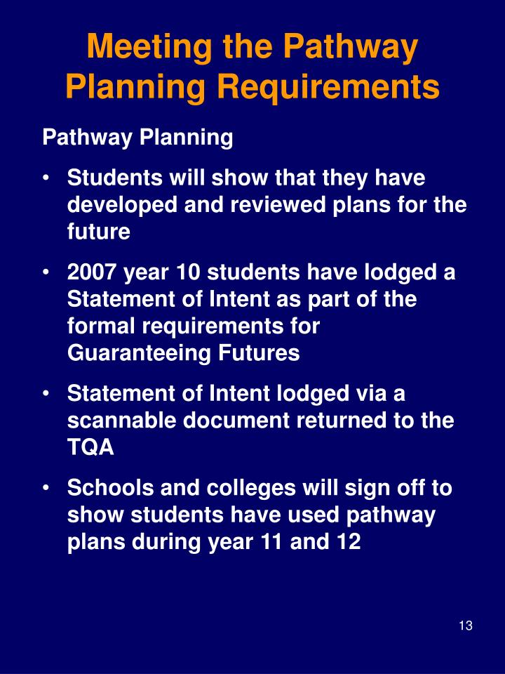 Meeting the Pathway Planning Requirements
