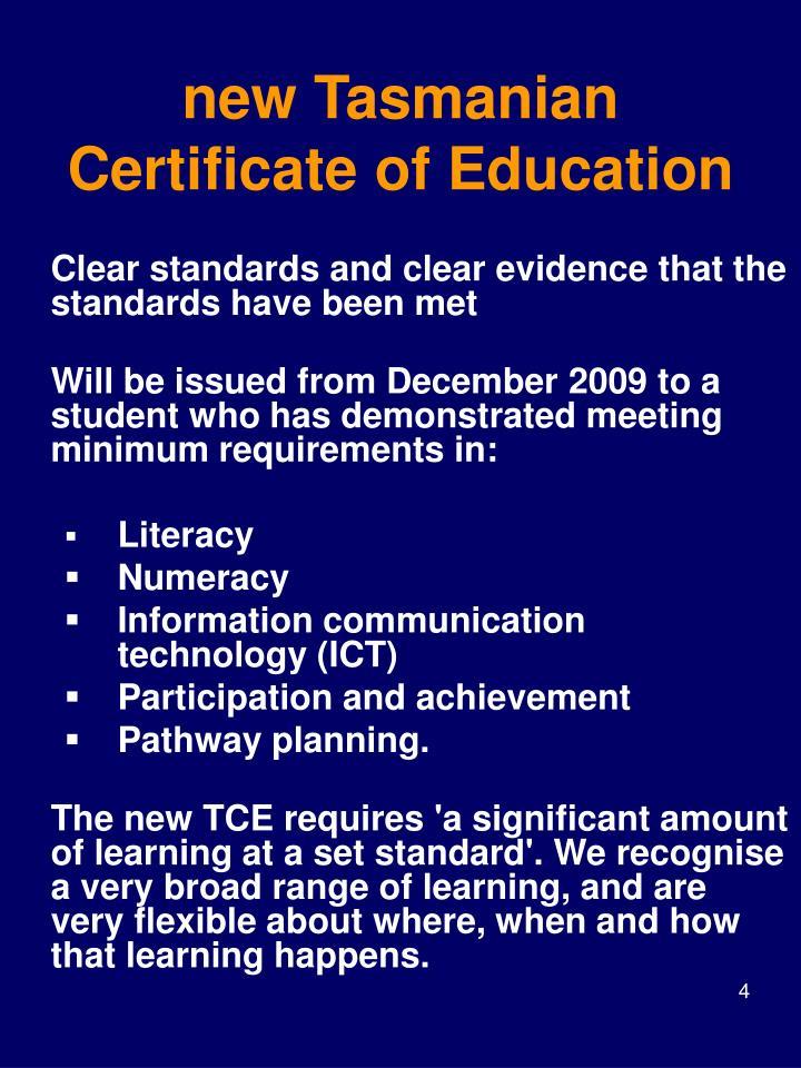 new Tasmanian Certificate of Education
